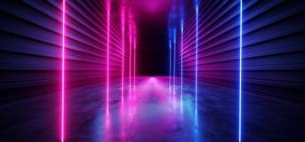 激光展示阶段霓虹减速火箭的现代科学幻想小说未来派典雅的未来具体走廊三角塑造黑暗的空的陈列室演播室 向量例证