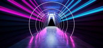 激光展示阶段霓虹减速火箭的现代科学幻想小说未来派典雅的未来具体走廊三角塑造黑暗的空的陈列室演播室 库存例证