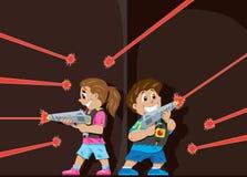 激光标签孩子 免版税库存图片