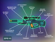激光标记比赛,激光在时髦平的样式的枪infographics 免版税库存照片