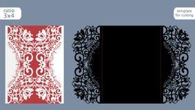 激光裁减婚礼邀请卡片模板传染媒介 冲切与抽象样式的纸牌 激光的保险开关纸门折叠卡片 库存例证
