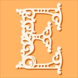 激光裁减模板 最初的组合图案信件 花梢花卉字母表信件 向量例证
