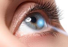 激光视觉更正 妇女` s眼睛 20d照相机eos眼睛人力宏观射击 美丽的蓝眼睛妇女年轻人 免版税库存图片