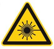 激光辐射危险安全危险警告文本标志贴纸标签,大功率射线象标志,被隔绝的黑三角 库存图片