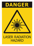 激光辐射危险安全危险警告文本标志黄色贴纸标签,大功率射线象标志,被隔绝的黑三角 免版税库存图片