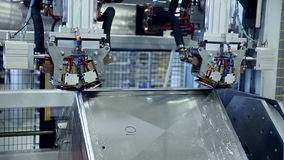 激光 等离子机器人焊接器与metall一起使用 股票录像