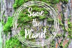 激动人心的文本救球在树皮背景的行星 免版税库存图片