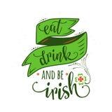 激动人心的行情的传染媒介例证吃饮料并且爱尔兰语 库存例证