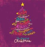 激动人心的词云彩圣诞树贺卡设计 库存例证