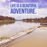 激动人心的诱导行情`生活是一次美好的冒险 ` 库存照片