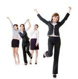 激动的女商人 免版税库存图片