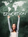 激动的学生妇女 免版税库存图片