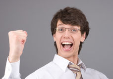 激动的生意人 免版税库存照片