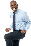 激动的年轻商业主管 免版税库存照片