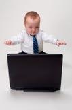 激动的婴孩生意人 免版税库存照片