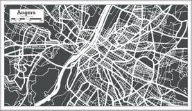 激怒法国在减速火箭的样式的市地图 黑白向量例证 库存例证