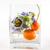 激情花和果子在花瓶 免版税库存照片