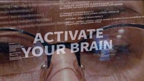 激活您的在开发商背景的脑子文本  股票视频