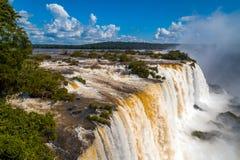 瀑布。伊瓜苏瀑布在巴西 图库摄影