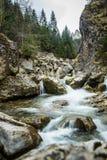 瀑布一个美好的长的曝光风景在Tatra山的 免版税库存图片