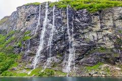 瀑布七个姐妹在盖朗厄尔峡湾,挪威 免版税库存照片