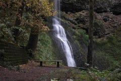 瀑布公园长椅tranquilo地方 库存图片