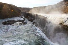 瀑布古佛斯瀑布,金黄圈子游览,冰岛 免版税图库摄影