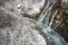 瀑布和多雪的森林 库存照片