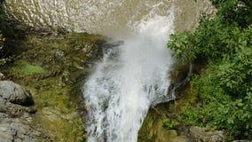 瀑布和大射流下来在森林,寄生虫顶视图里 股票录像