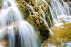 瀑布和小河特写镜头在森林里 免版税库存图片