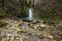 瀑布和山河 俄国 索契 库存照片