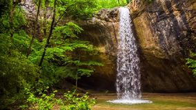 瀑布和洞在森林慢动作 影视素材