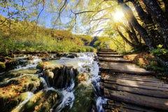 瀑布和浮船在阳光下在Plitvice国家公园 免版税图库摄影