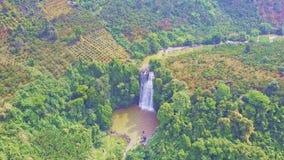 瀑布和湖在底部在热带森林中 股票录像
