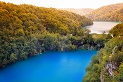 瀑布和湖在普利特维采湖群国家公园,克罗地亚 库存照片