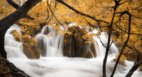 瀑布和湖在Plitvice国家公园,克罗地亚 免版税库存照片