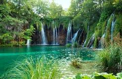 瀑布和湖用透明鲜绿色水 免版税库存图片