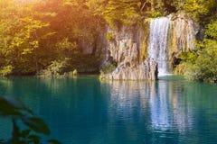 瀑布和湖, Plitvice国家公园,克罗地亚,欧洲 库存照片