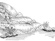 瀑布图表黑白色风景剪影例证