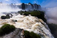 瀑布在伊瓜苏河,巴西的Cataratas del伊瓜苏 免版税图库摄影