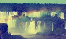 瀑布在伊瓜苏河,巴西的Cataratas del伊瓜苏 库存图片