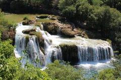 瀑布在克尔卡河克罗地亚 免版税库存图片