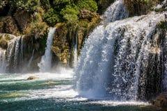 瀑布在克罗地亚, Krka国家公园湖 图库摄影