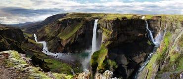 瀑布在冰岛 Haifoss 免版税库存照片