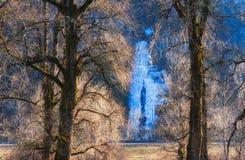 冻瀑布在哥伦比亚河峡谷 免版税库存图片
