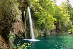 瀑布在国家公园Plitvice湖,克罗地亚 库存照片
