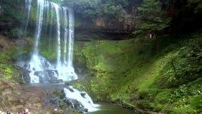 瀑布在明媚的阳光下的小河闪闪发光 股票视频