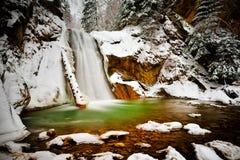 瀑布在森林在冬天 库存图片
