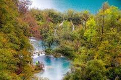 瀑布在森林透明的水中 木步行道路, Plitvice湖,克罗地亚 图库摄影