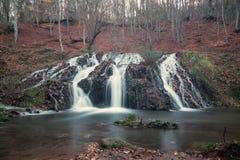 瀑布在森林里在秋天 库存图片